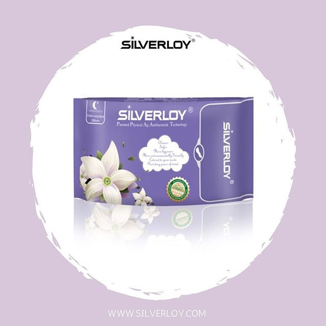 Silverloy anti-bacterial night extension sanitary napkin